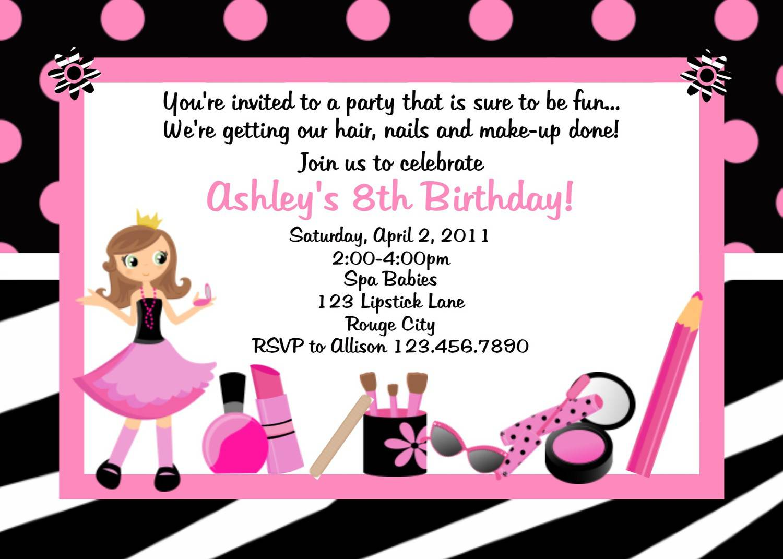 Spa Party Invitations Printable Free