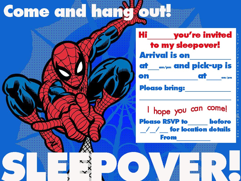 Spiderman Fans Have A Choice Of Two Spiderman Sleepover Party
