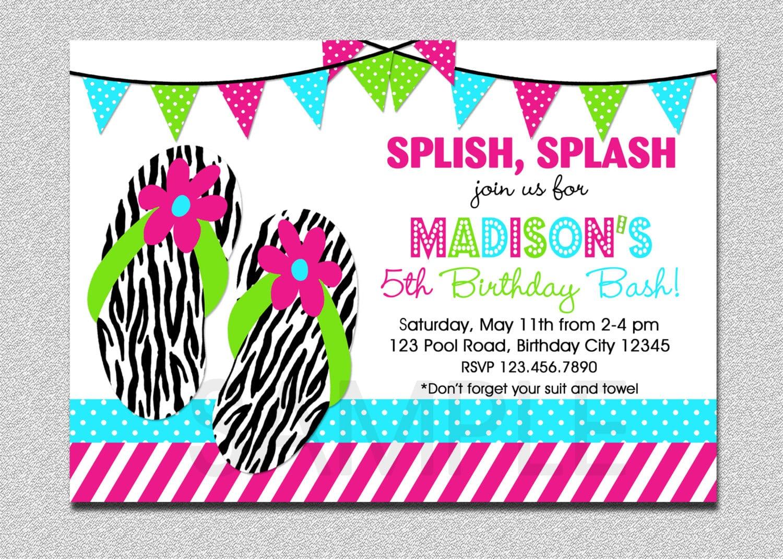 Splish Splash Pool Party Invitation 1st Birthday Pool Party