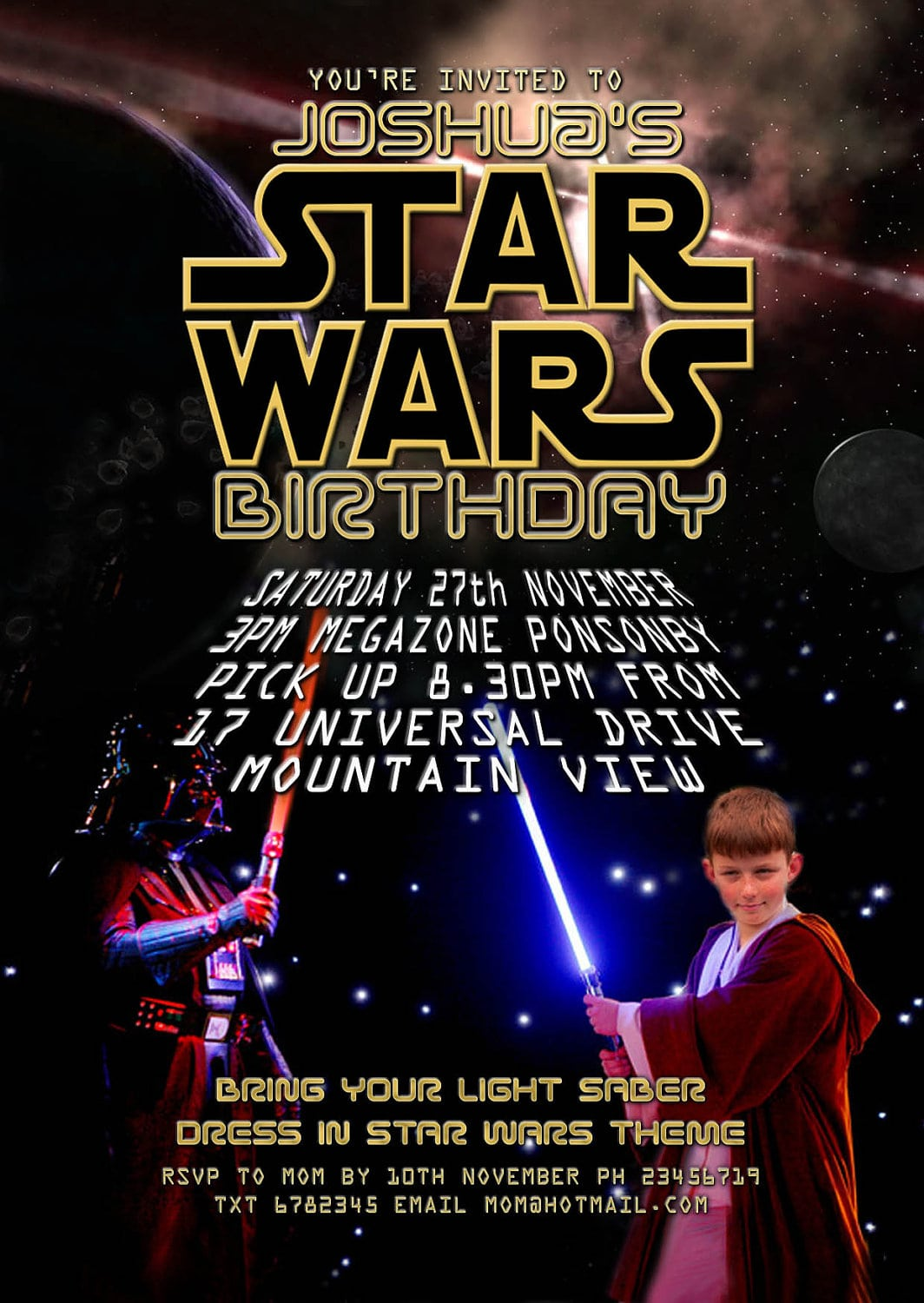 Star Wars (the Force Awakens) Printable Party Invitation