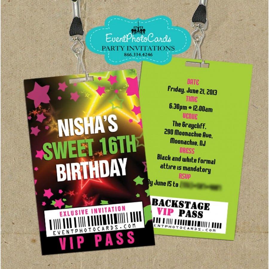 Stars Neon Vip Pass Invitations, Sweet 15th