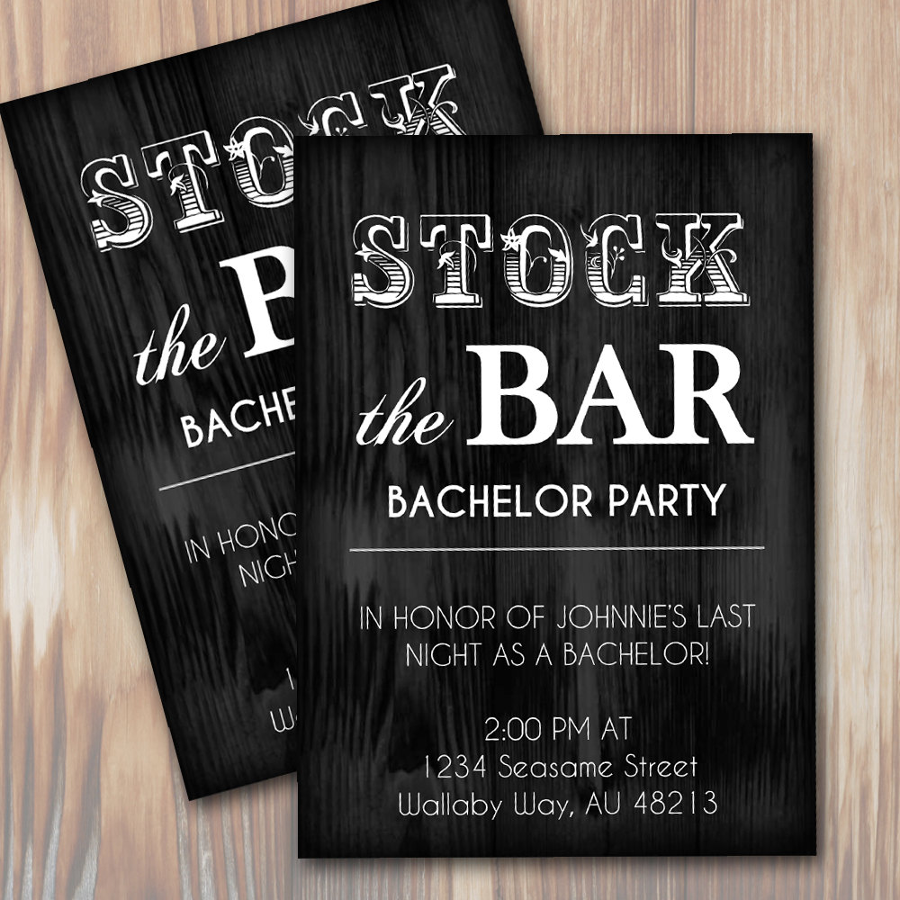 Stock The Bar Rustic Bachelor Party Invitation Template