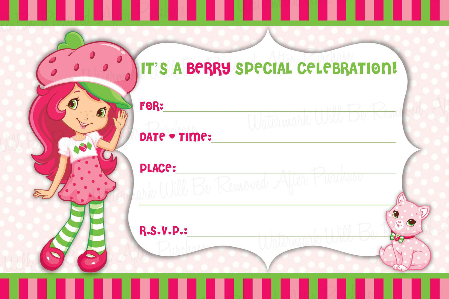 Strawberry Shortcake Birthday Party Raffle Ticket Digital