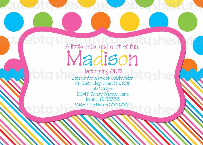 Stripes & Polka Dots Birthday Invitation Digital File You