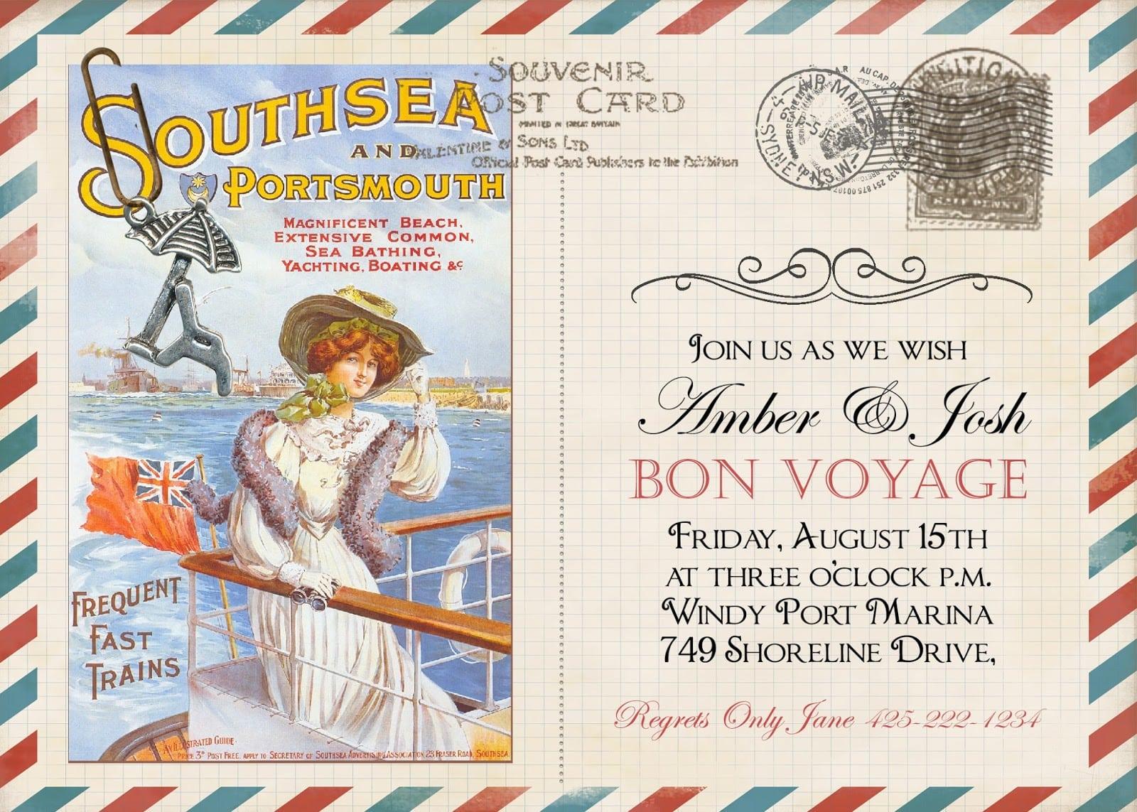 Sugar And Spice Invitations  Bon Voyage Vintage Post Card