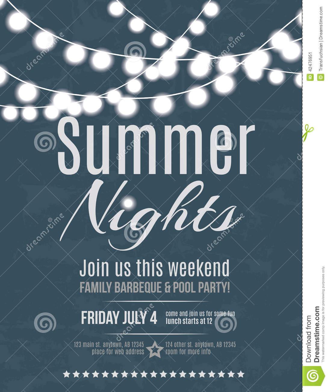 Summer Night Party Invitation Stock Vector