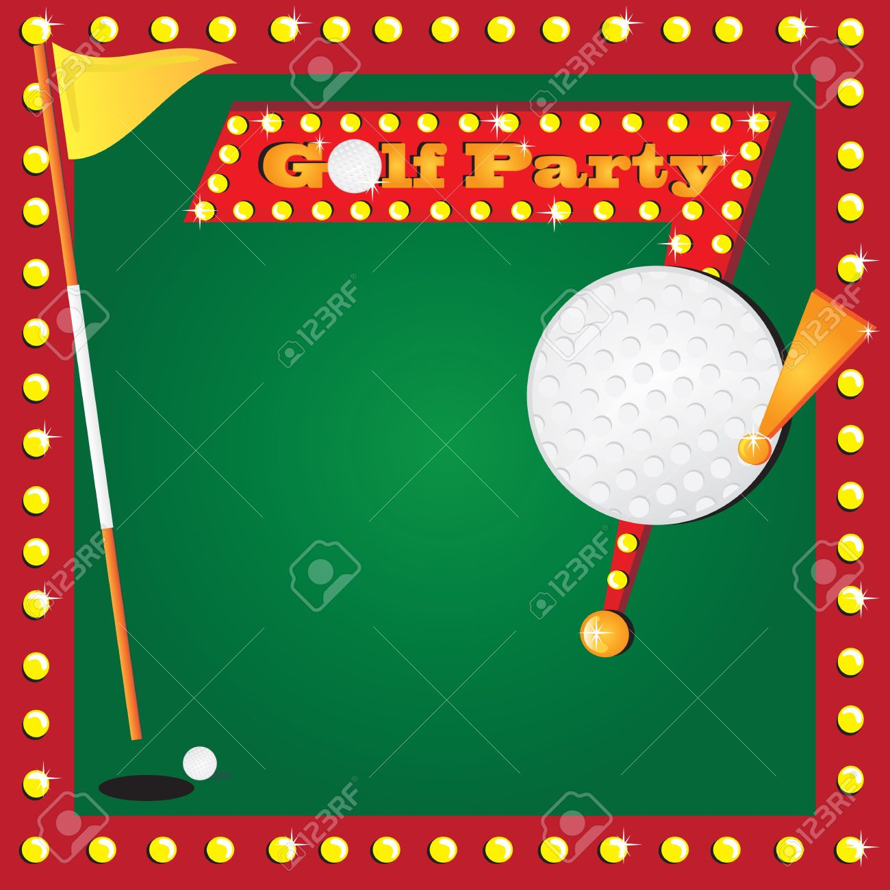 Super Fun Golf Or Miniature Golf Party Invitation With Glowing