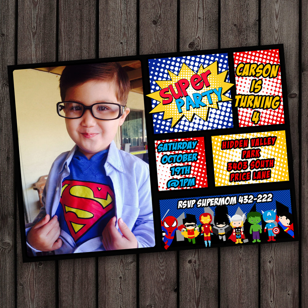 Superhero Invitations Fast Ship Free By Amyssimpledesigns On Etsy