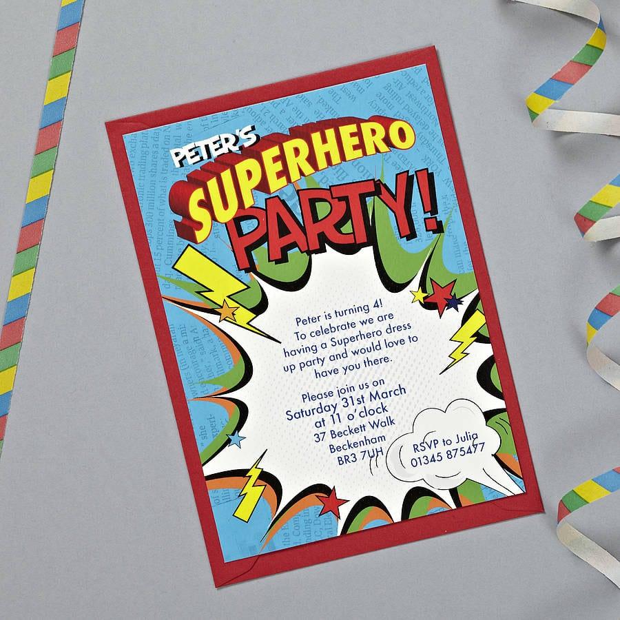Superhero Party Invitations – Gangcraft Net
