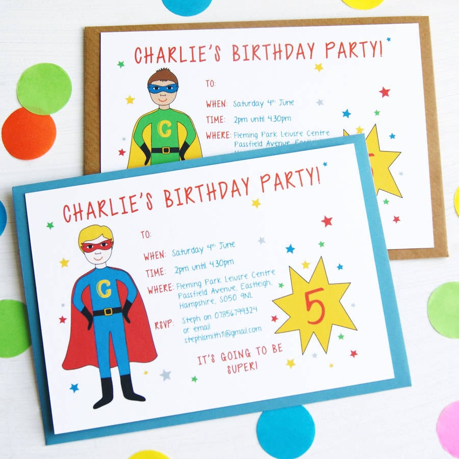 Superhero Personalised Birthday Party Invitations By Superfumi
