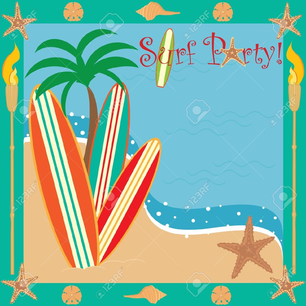 Surf Party Invitation Royalty Free Cliparts, Vectors, And Stock