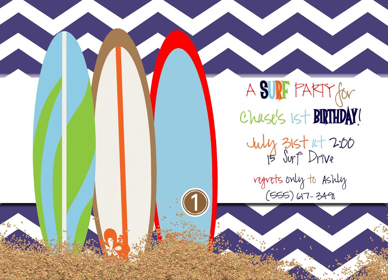 Surfer Boy Birthday Party Invites