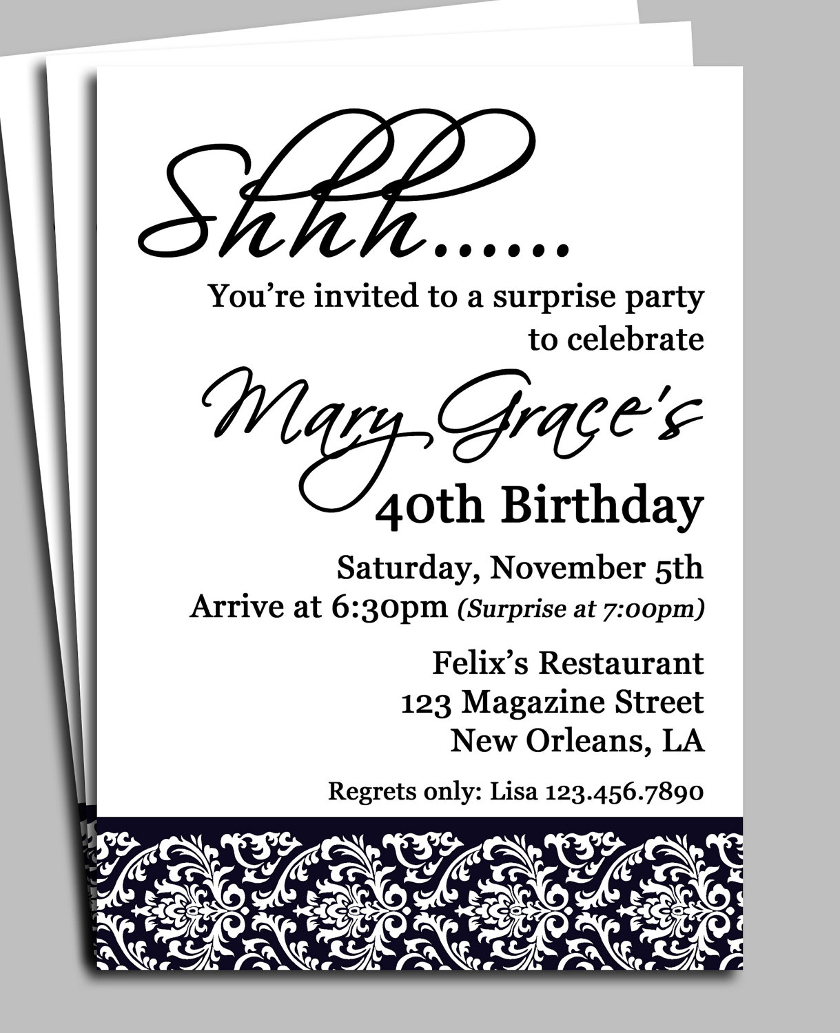 Surprise 40th Birthday Invitation Wording Samples
