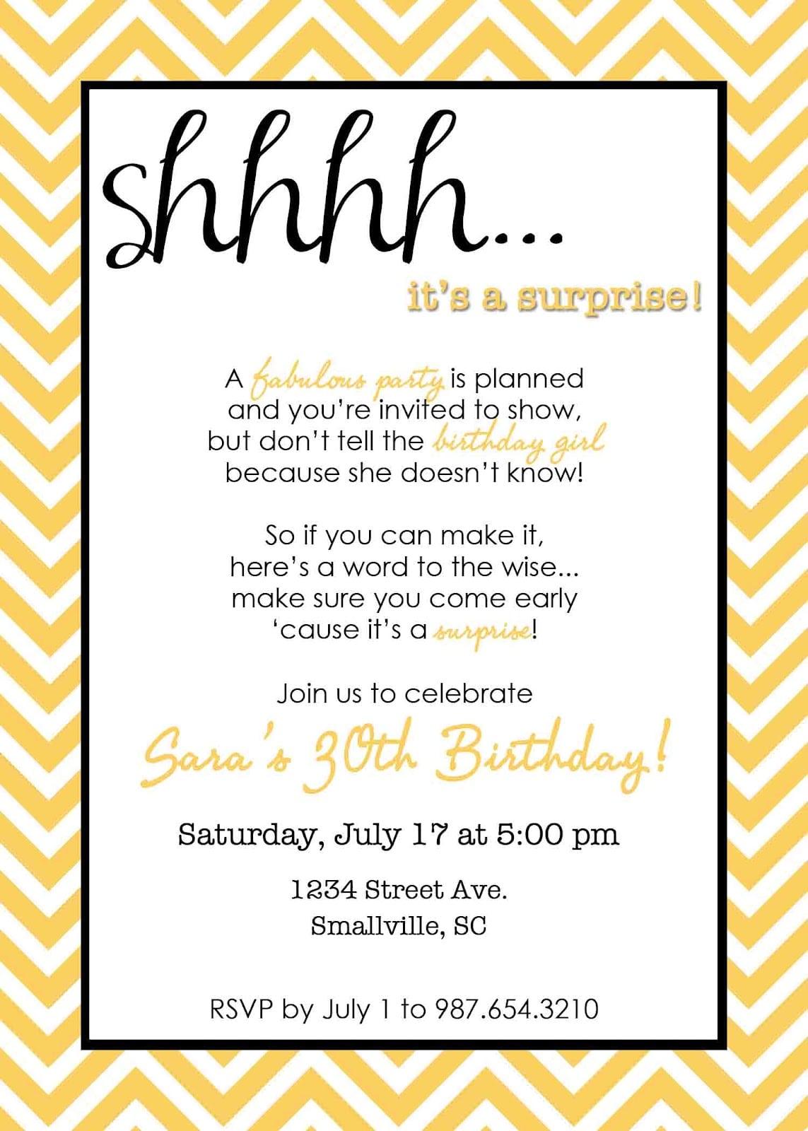 Surprise Birthday Invitations Wording