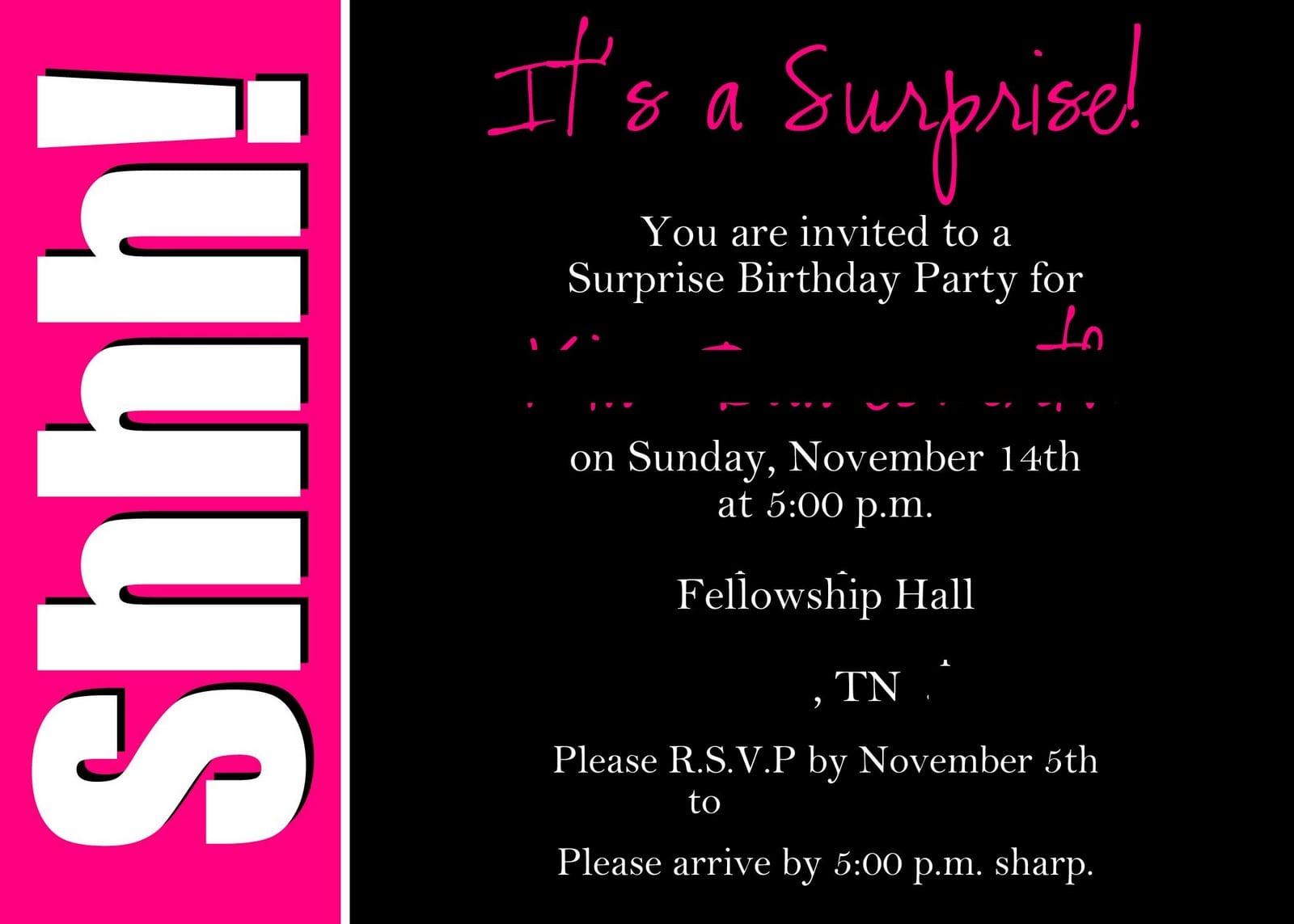 Surprise Party Invitation Wording – Gangcraft Net