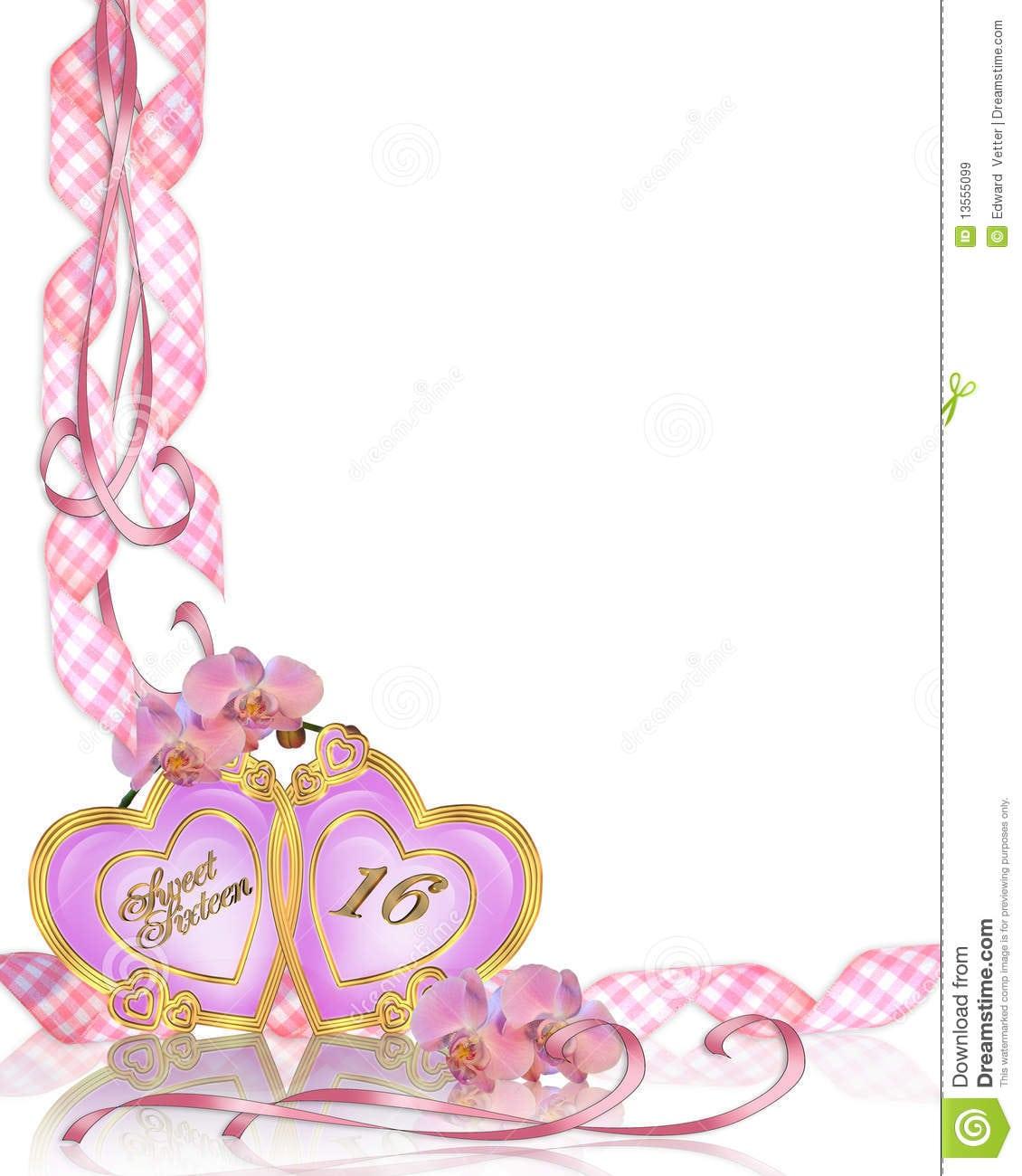 Sweet 16 Birthday Invitation Border Royalty Free Stock Images