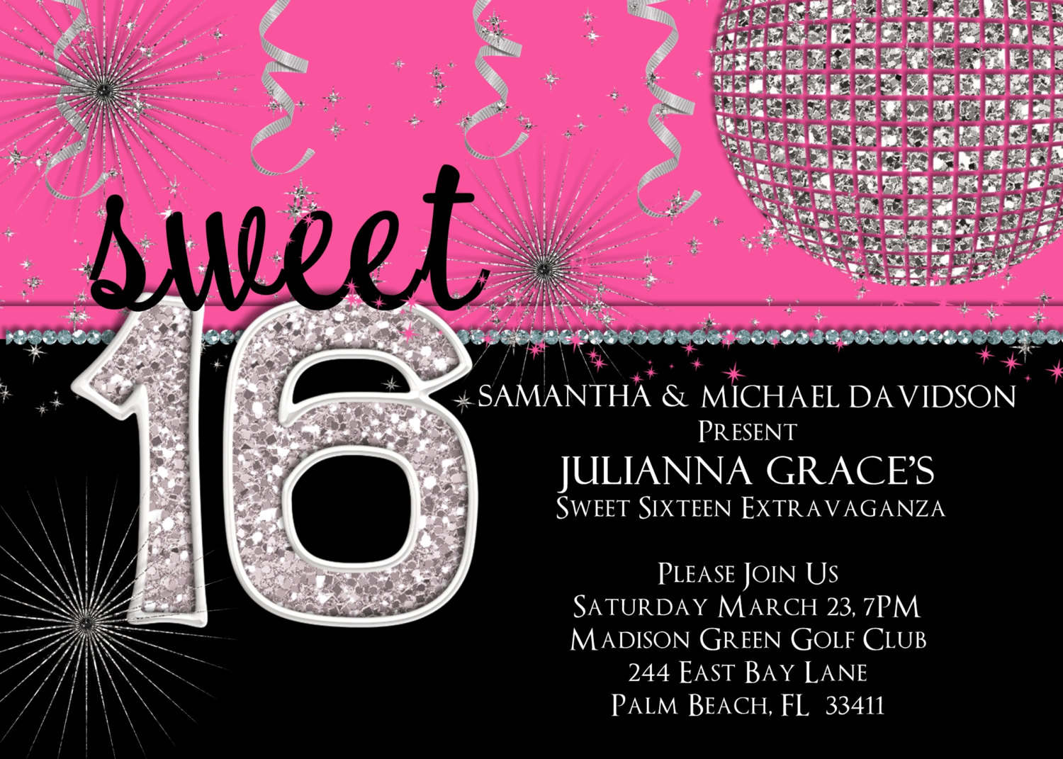 Sweet 16 Party Invitations Templates Sweet 16 Party Invitations