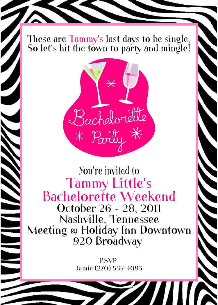 Sweet Girls Zebra Print Bachelorette Party Invitation Card Sample