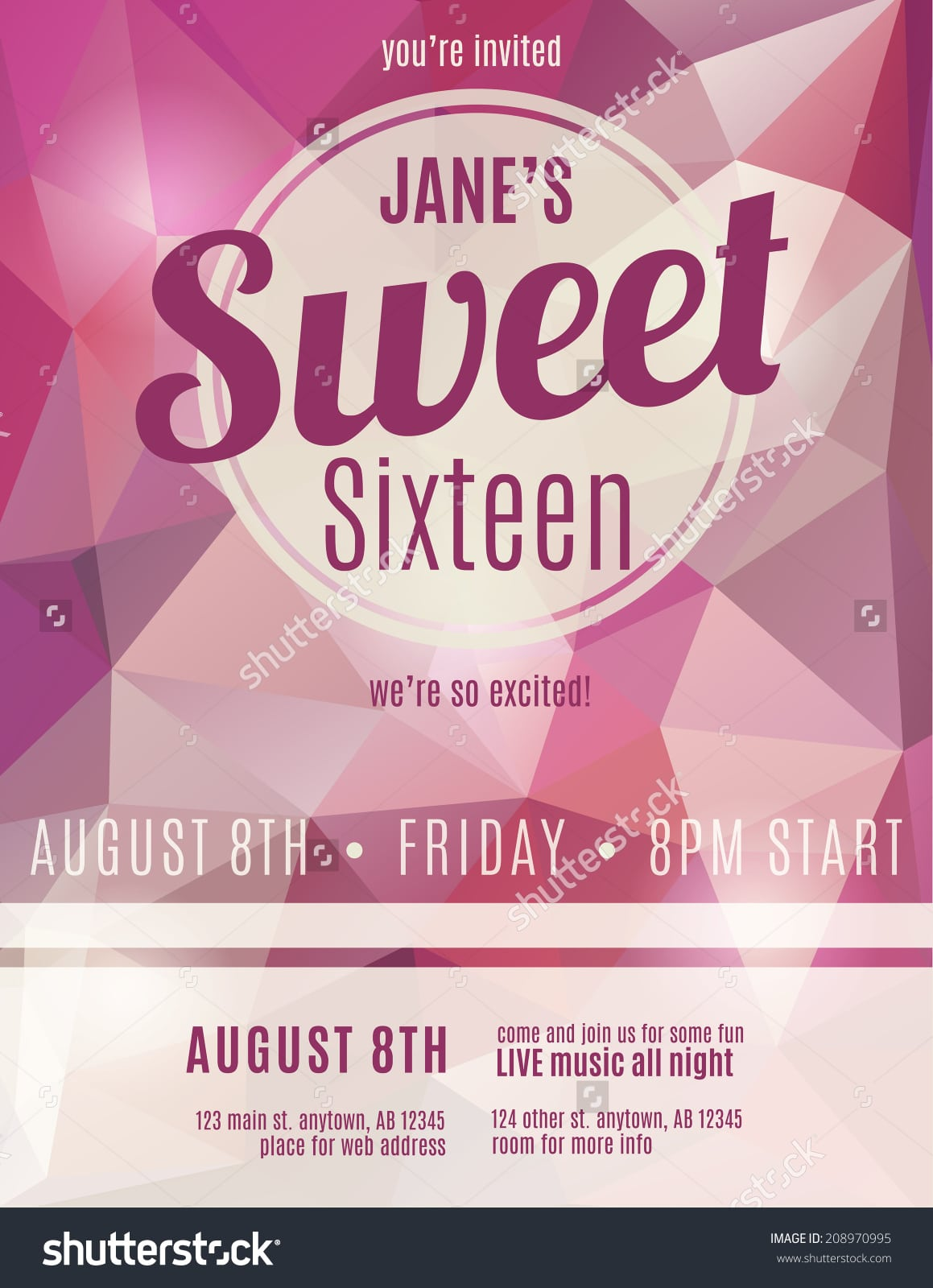 Sweet Sixteen Party Invitation Flyer Template Stock Vector