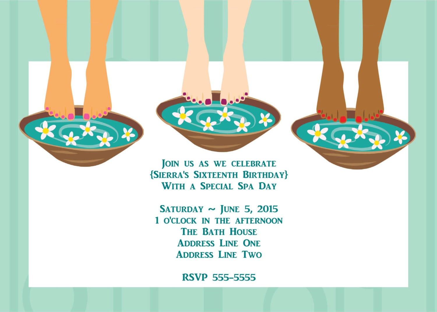 Sweet Wishes Spa Day Pedicure Party Invitations