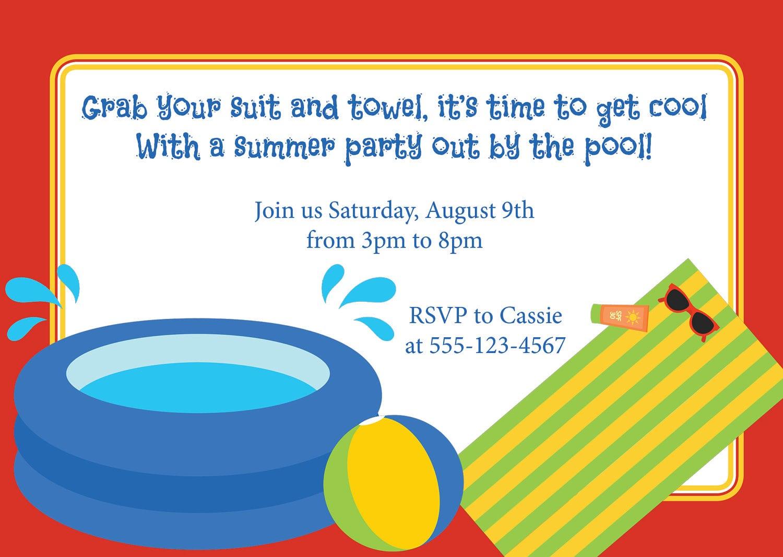Swimming Birthday Party Invitation Wording