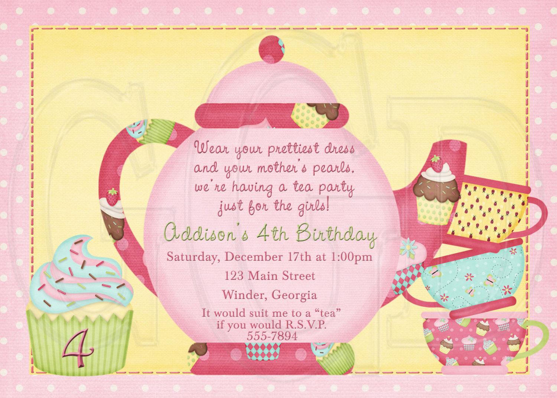 Tea Party Invitation Birthday Dress