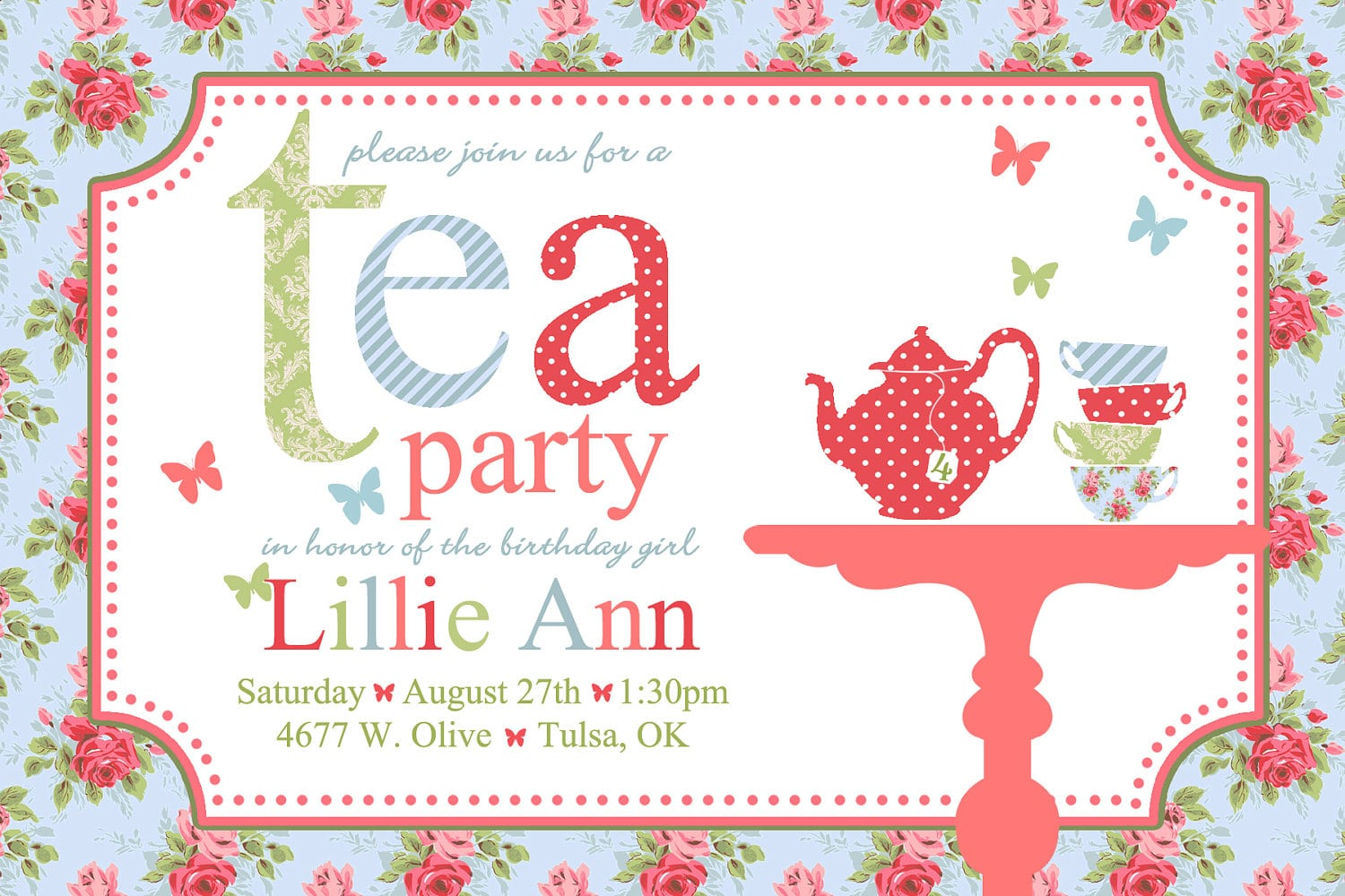 Tea Party Invitation Card With Nice Wording Template   Momecard