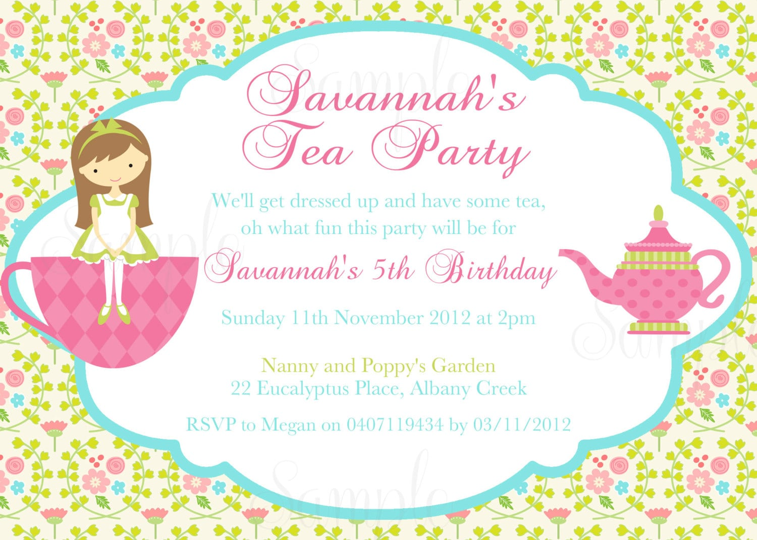 Tea Party Invitations For Little Girls
