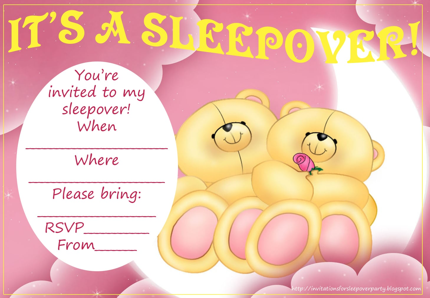 Teddy Bear Party Invitations For A Sleepover  Geqnjo