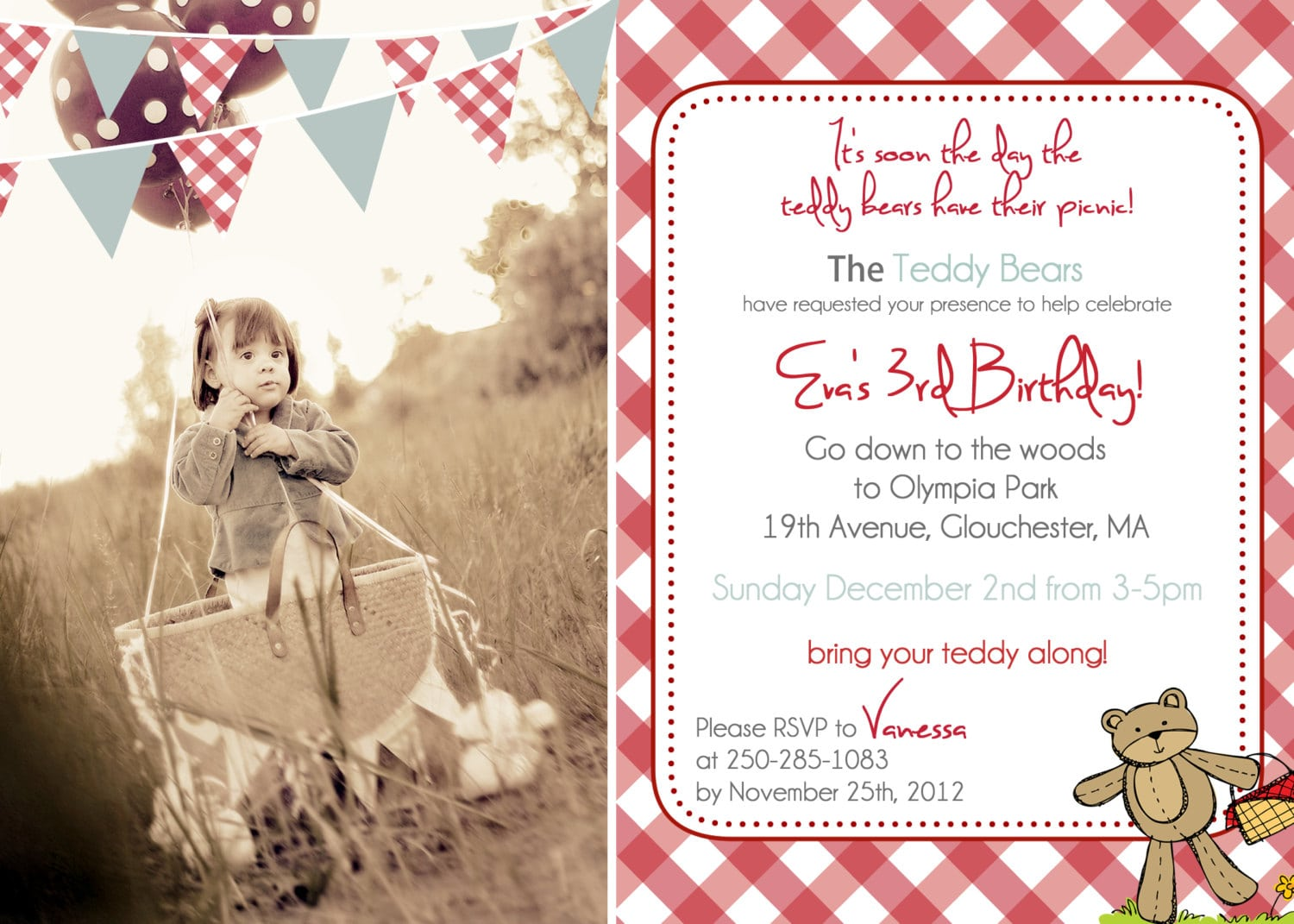 Teddy Bear Picnic Party Invitations - Mickey Mouse Invitations ...