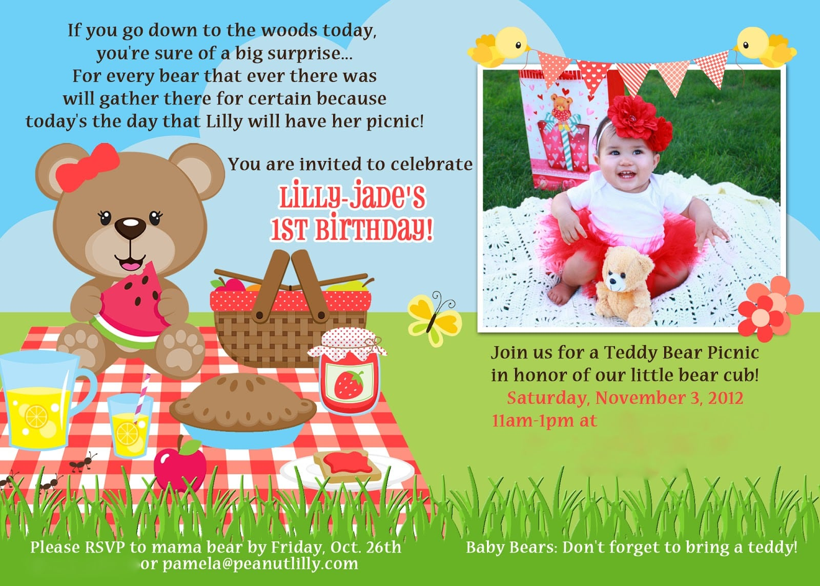 Teddy Bear Picnic Party Invites Macdonald39s Playland Lilly39s 1st