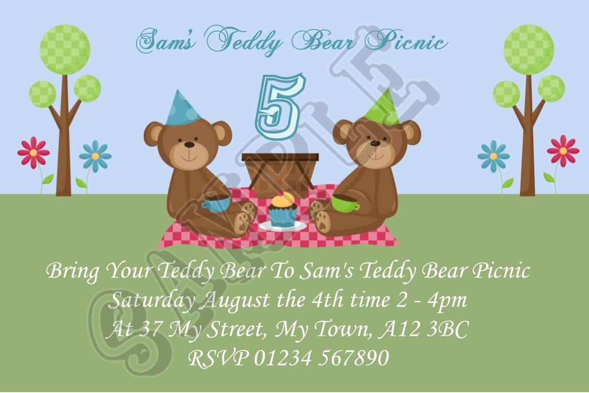Teddy Bears Picnic Personalised Birthday Party Custom Invitations