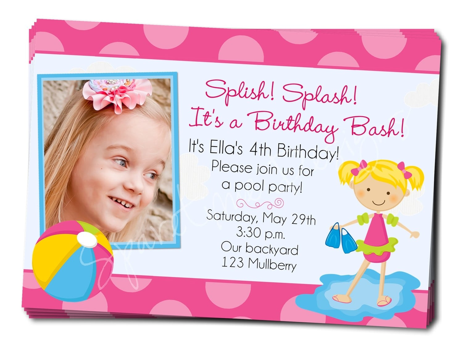 Template 2nd Birthday Pool Party Invitation Wording Birthday Party