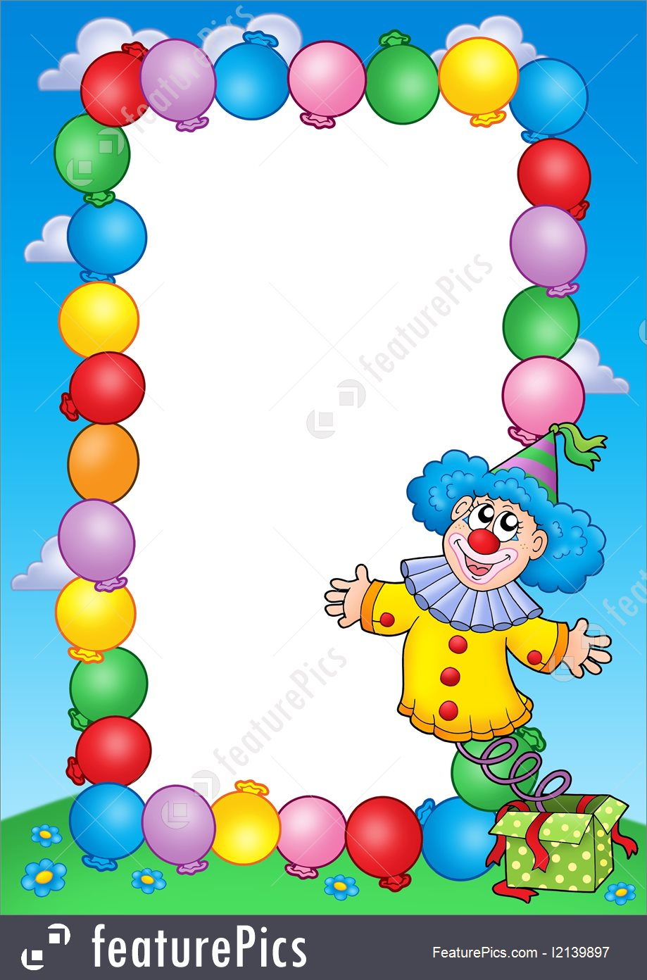 Templates  Party Invitation Frame With Clown 3
