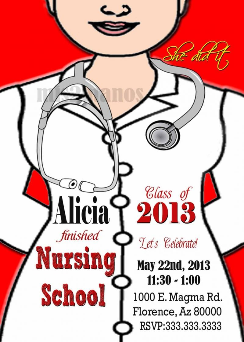 Templates Fabulous Nursing School Invitations Graduation Party
