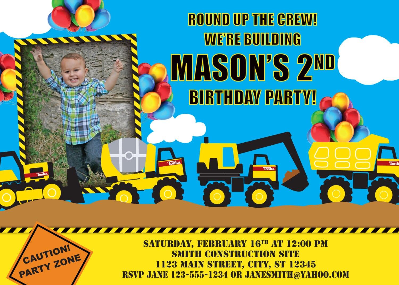 Tonka Truck Birthday Invitation