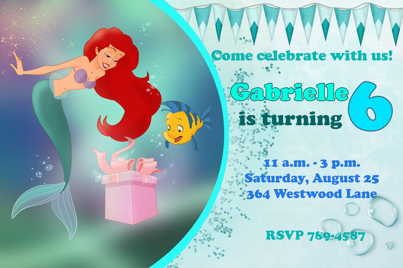 Mermaid Birthday Party Invitation - Mickey Mouse Invitations Templates