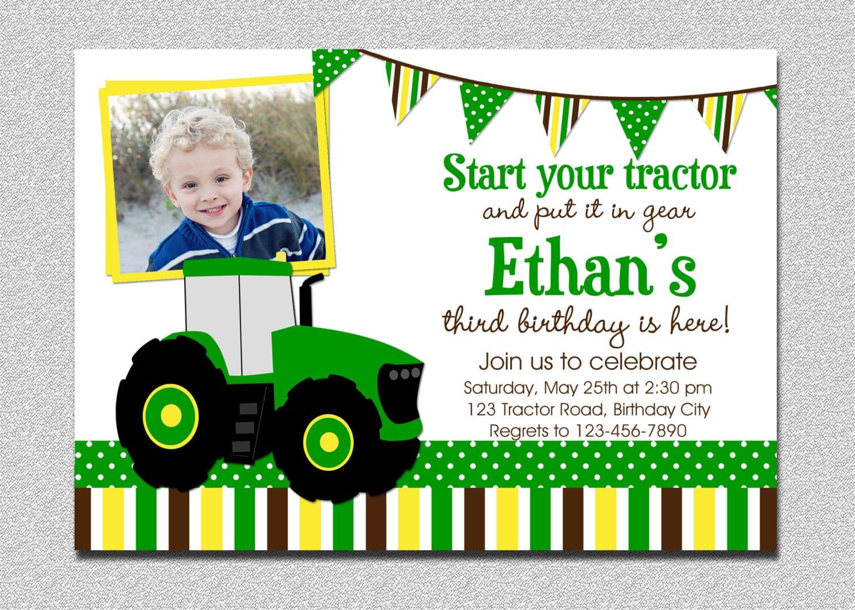 Tractor Birthday Invitation Tractor Birthday Party Invitation