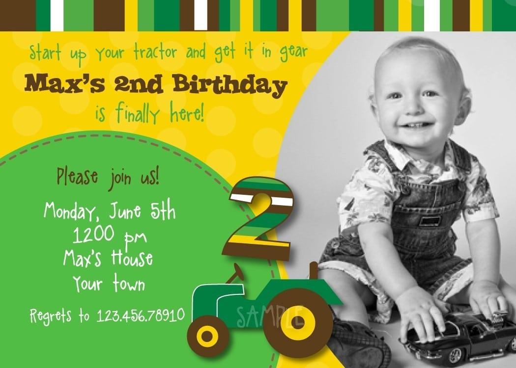 Tractor John Deere Custom Birthday Party Invitations