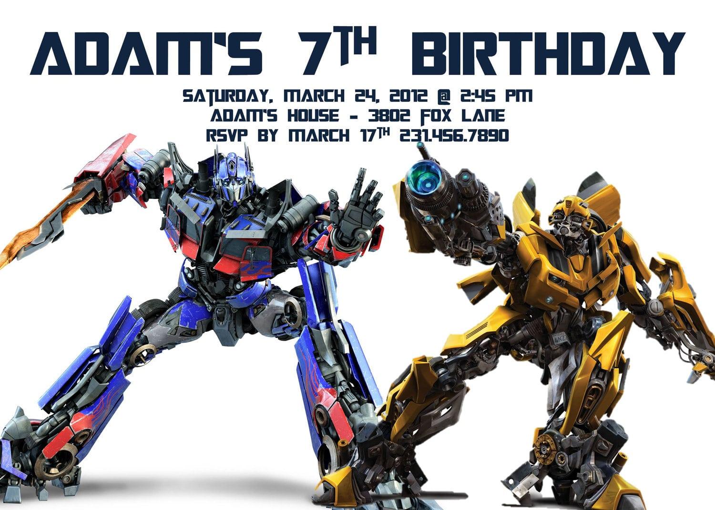 Transformers Birthday Party Invitations