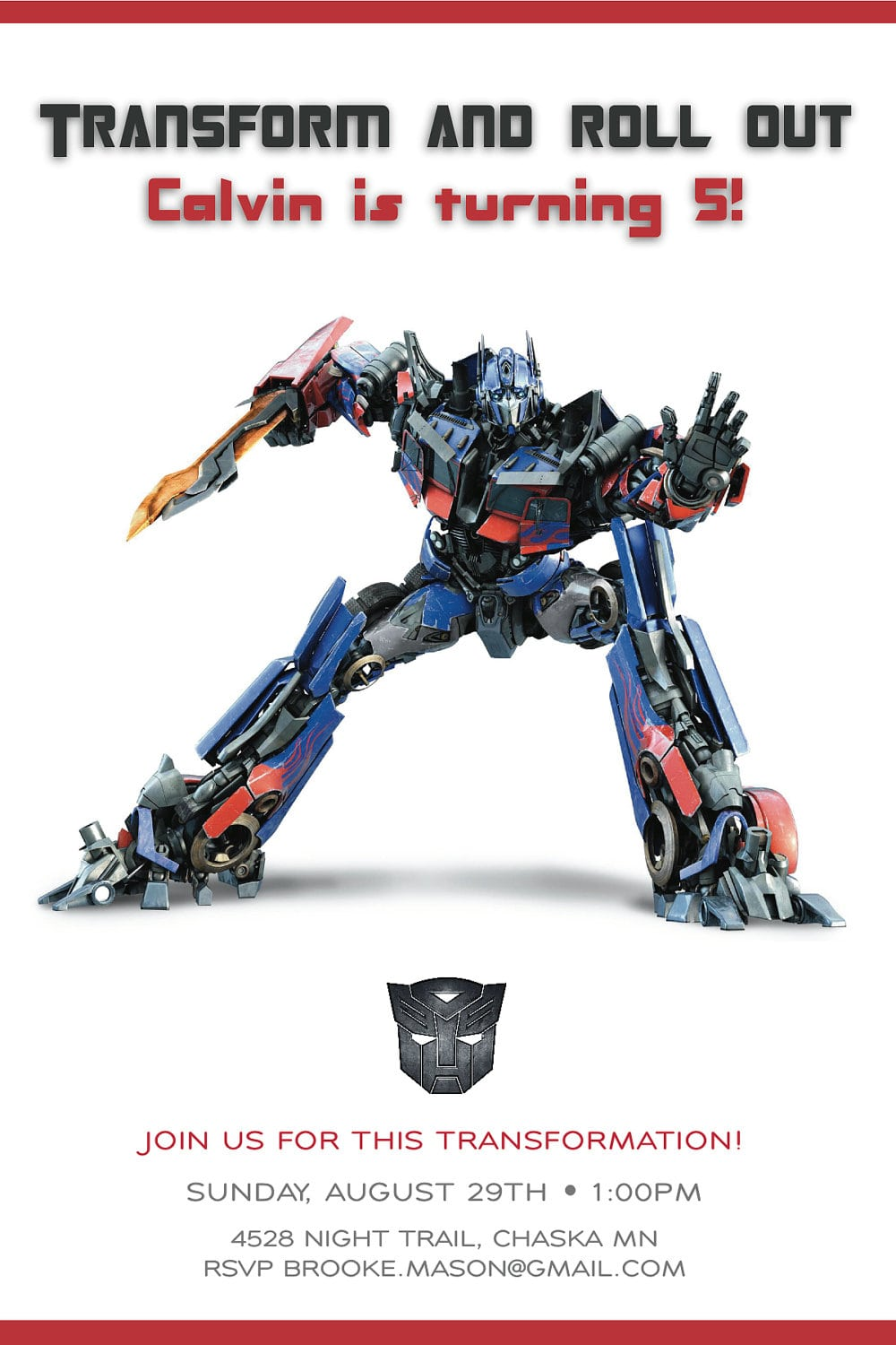 Transformers Birthday Party Invitations Template