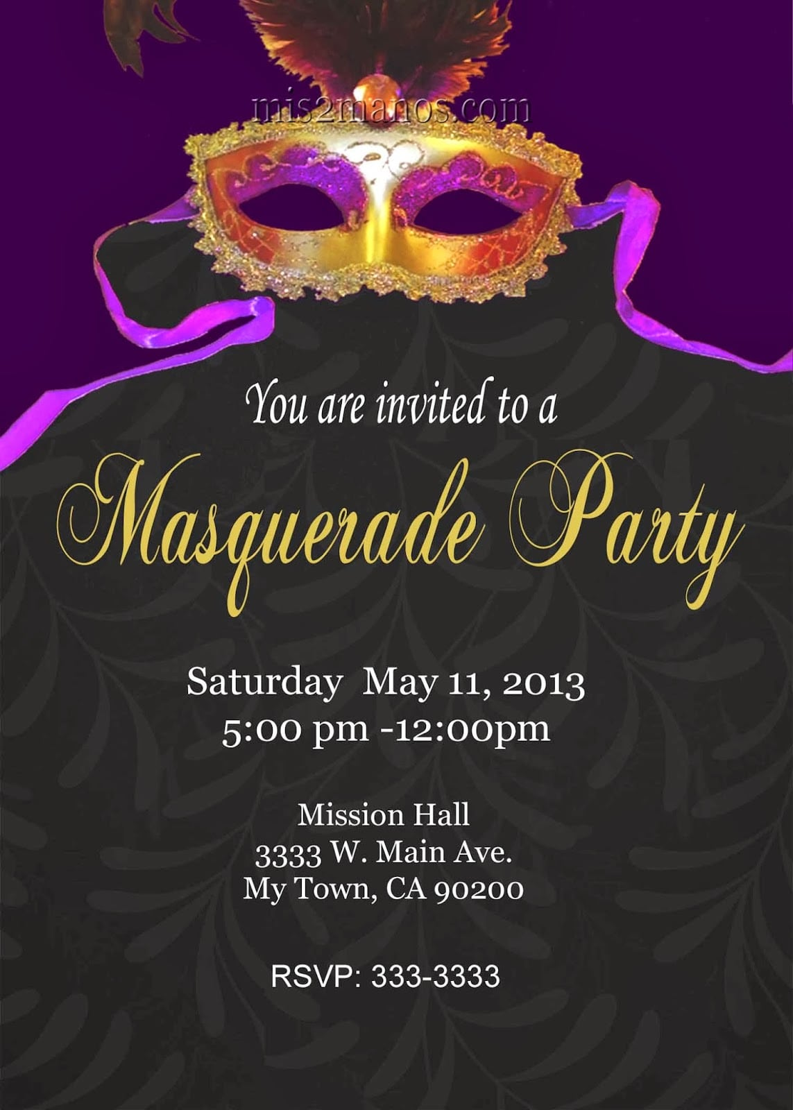 Transitional Venetian Masquerade Party Invitations Features Party