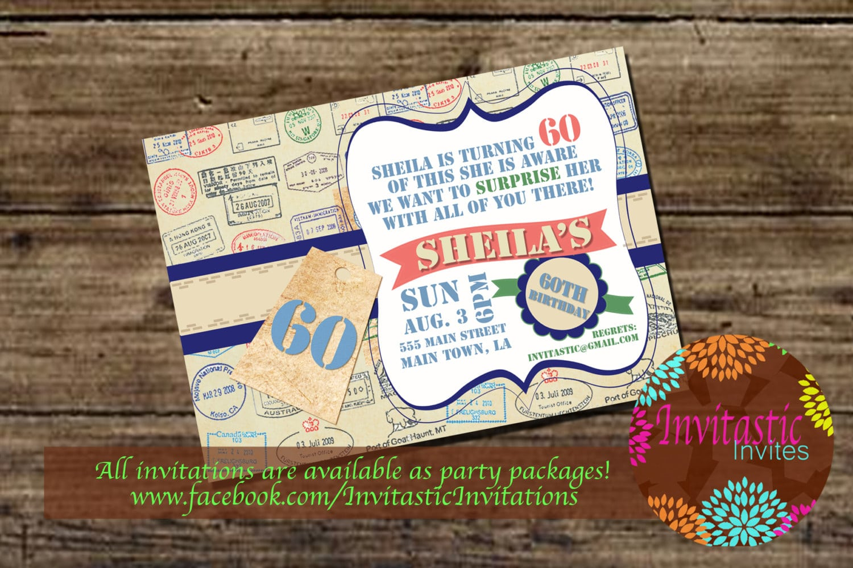 Travel Theme Milestone Birthday Invitation 30th 40th