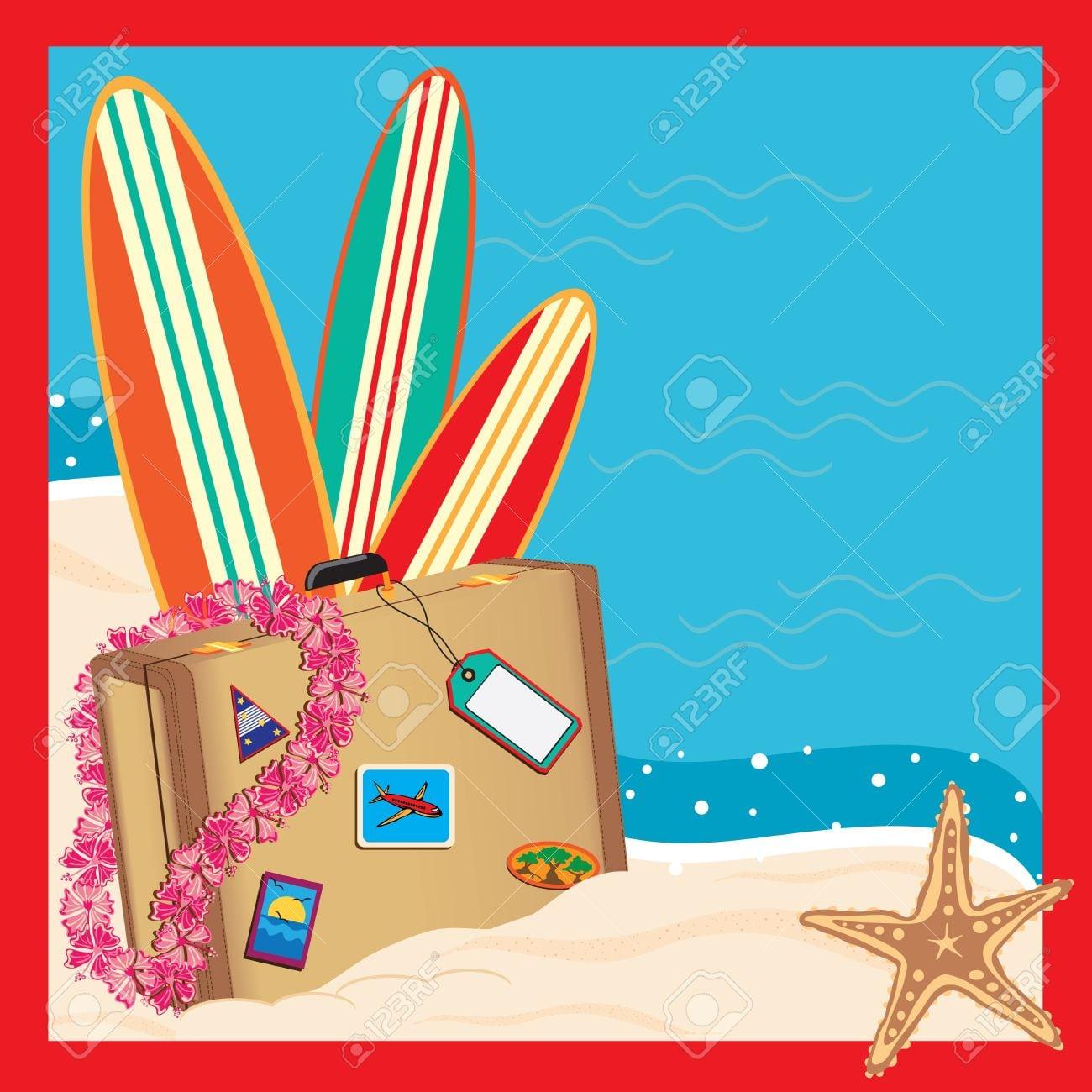 Tropical Vacation Invitation Royalty Free Cliparts, Vectors, And