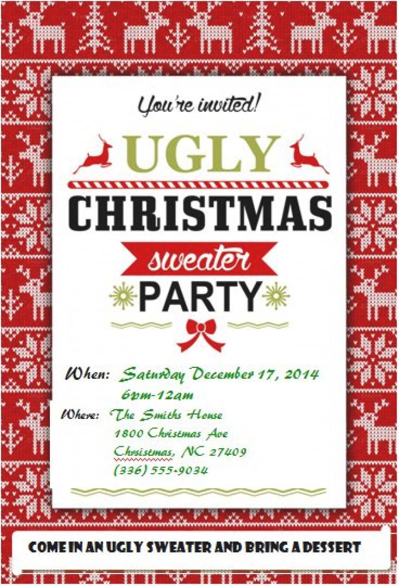Ugly Christmas Sweater Party Invitations – Gangcraft Net