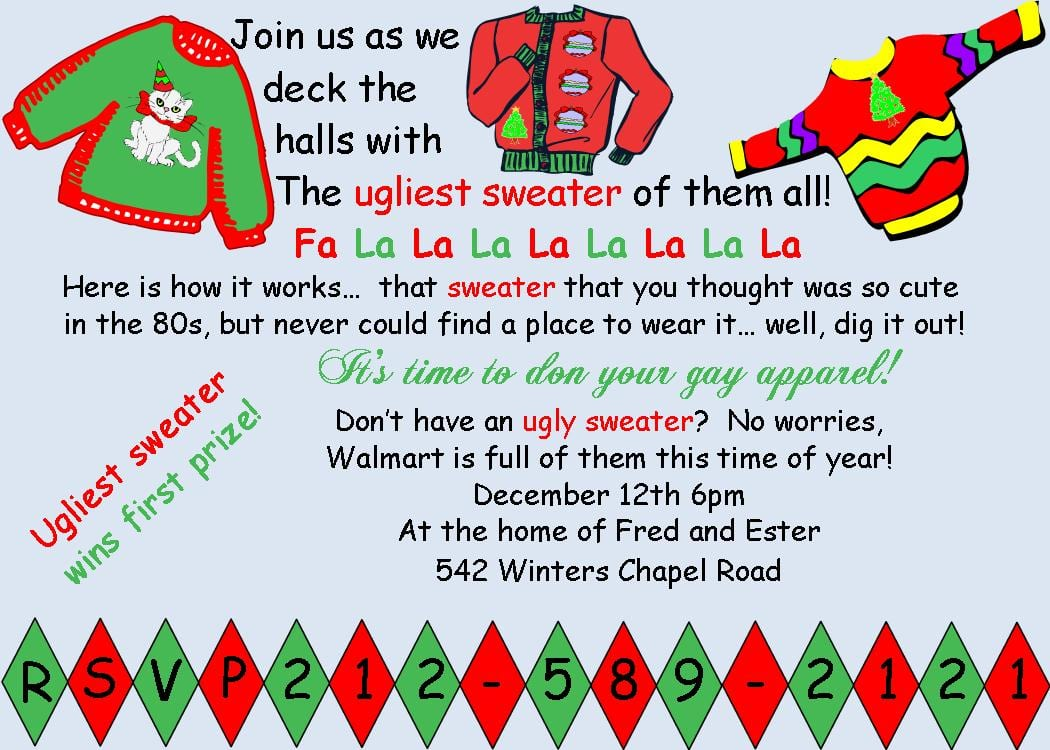 Ugly Sweater Christmas Party Invitations New For 2016