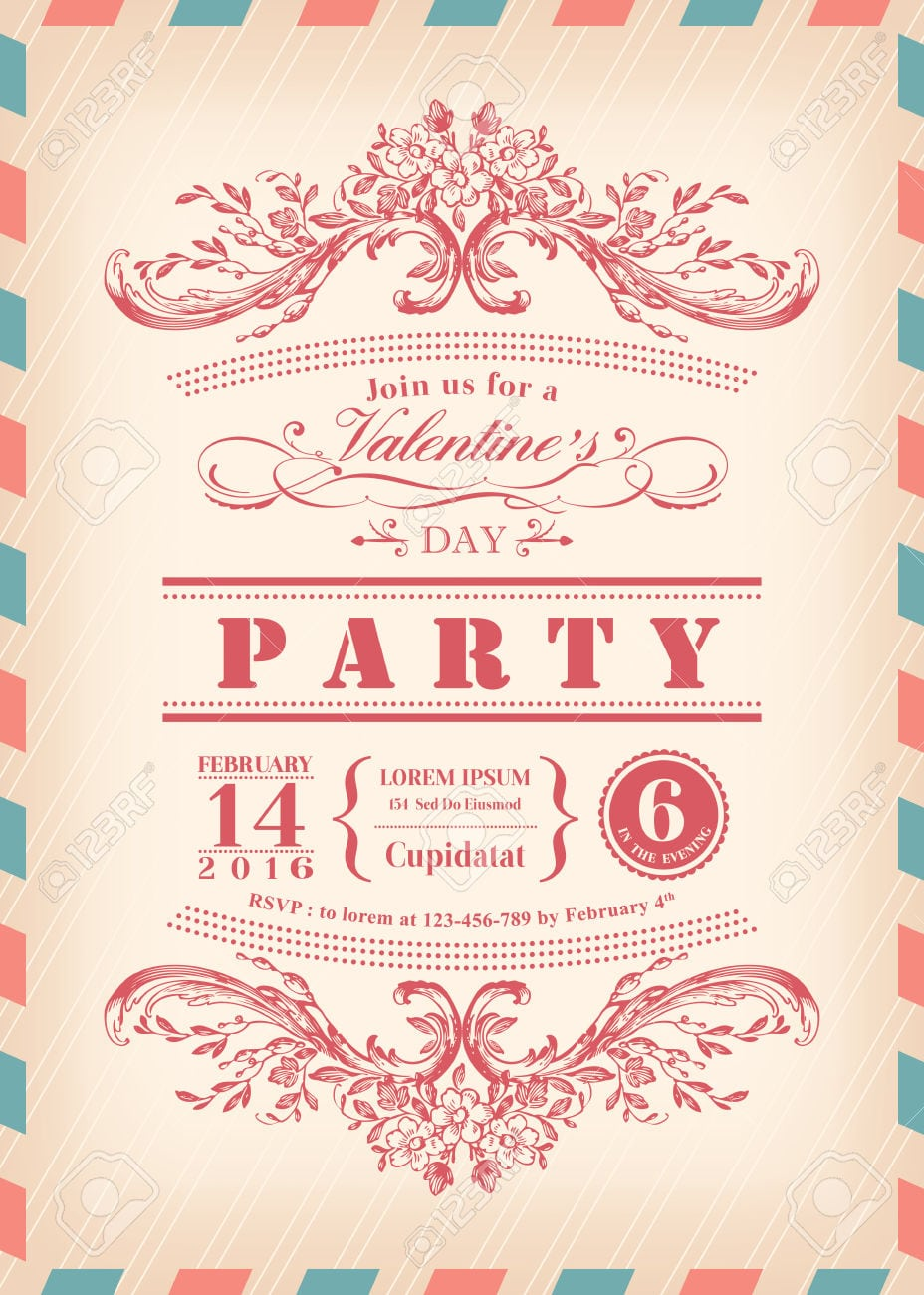 Valentine Day Card Party Invitation With Vintage Frame And Airmail