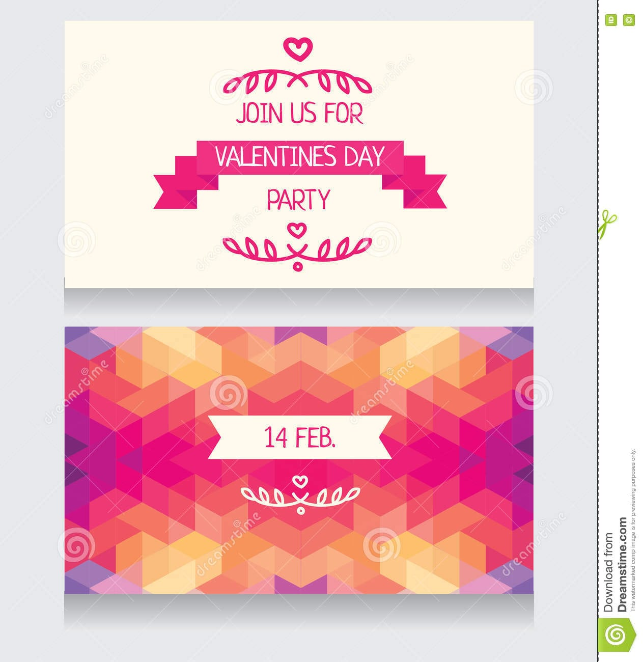 Valentine Day Vector Party Invitation Template Flyer Set Stock