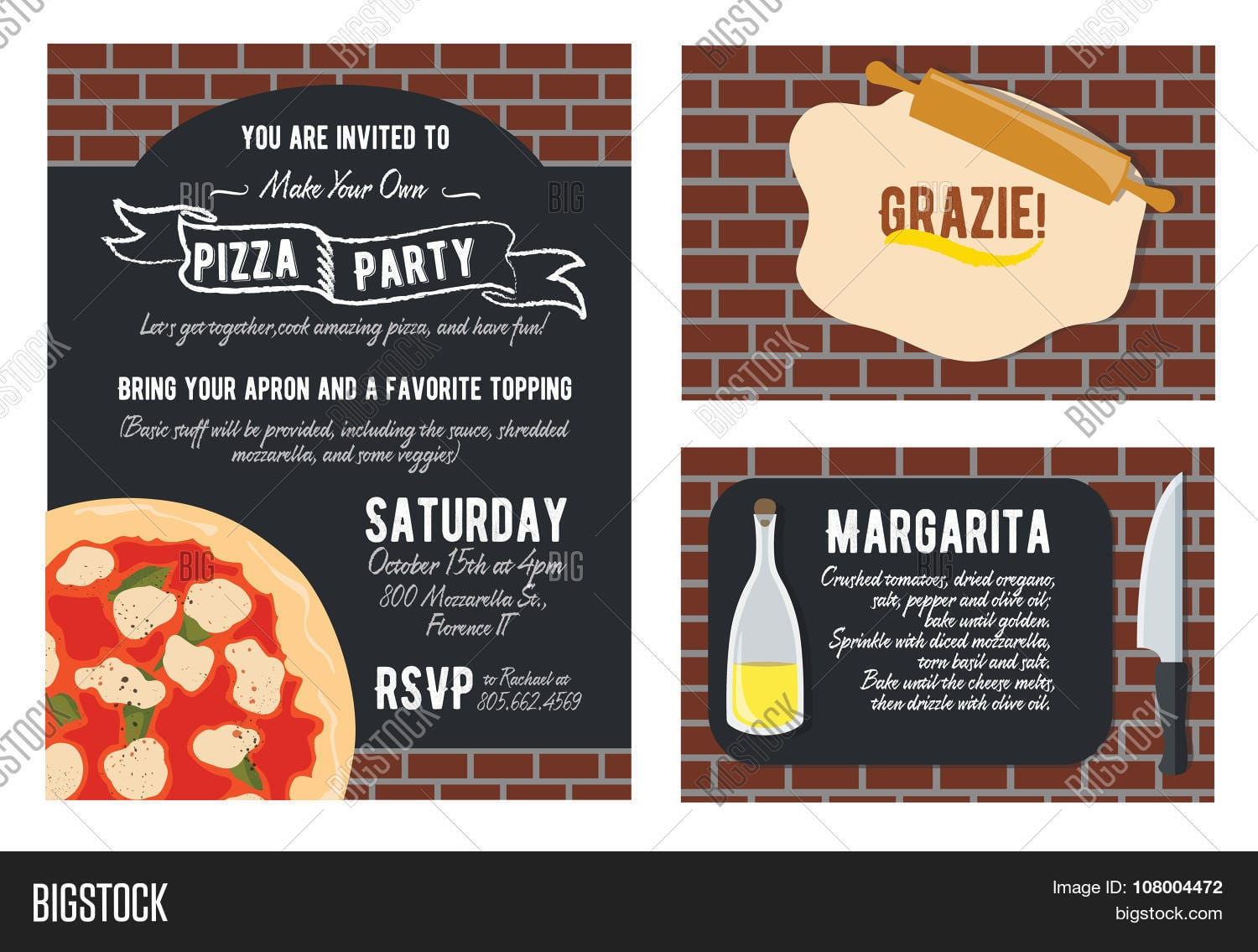Vector Fun Make Your Own Pizza Party Invitation Set  Recipe Card