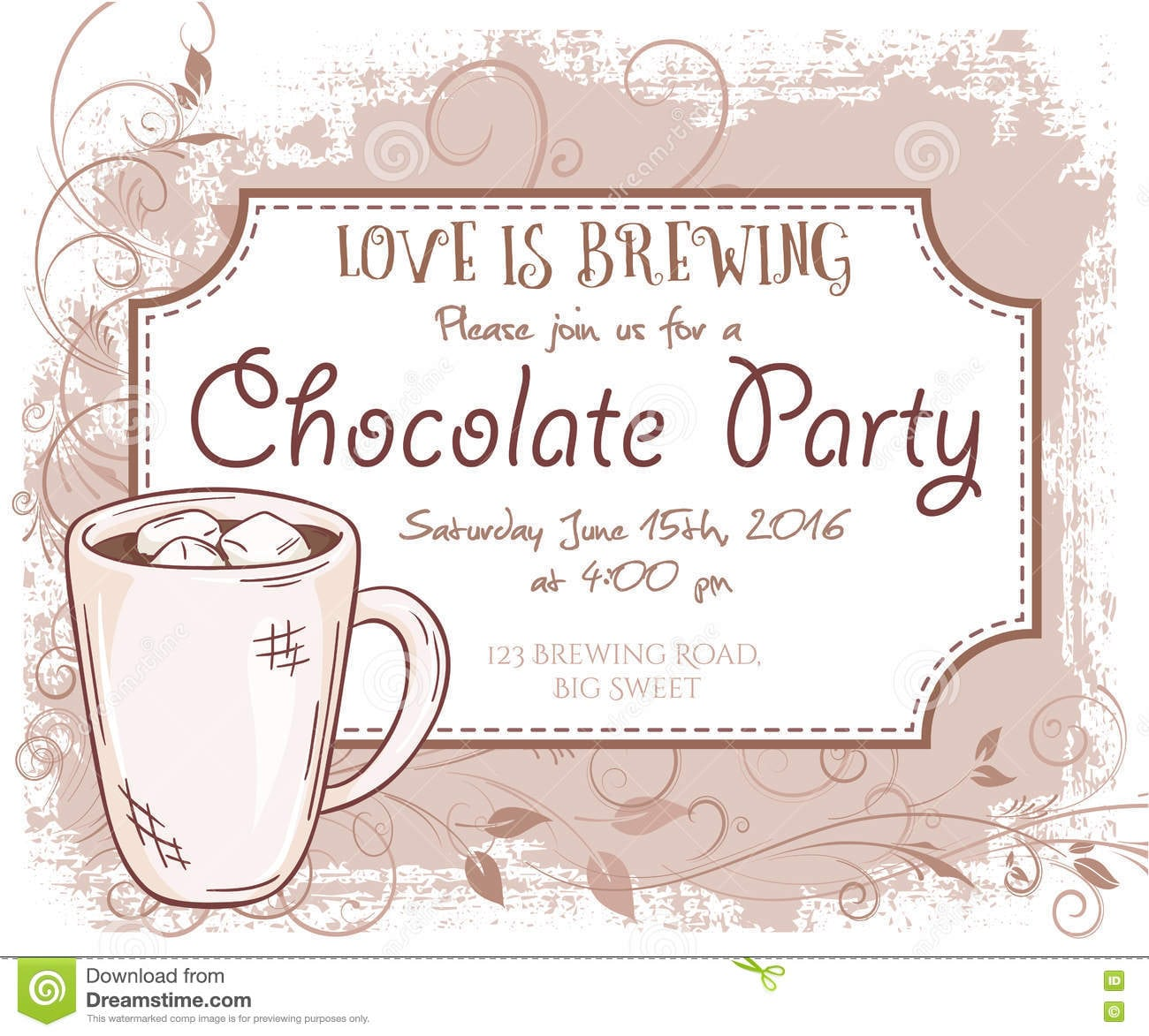 Vector Hand Drawn Chocolate Party Invitation Card, Vintage Frame